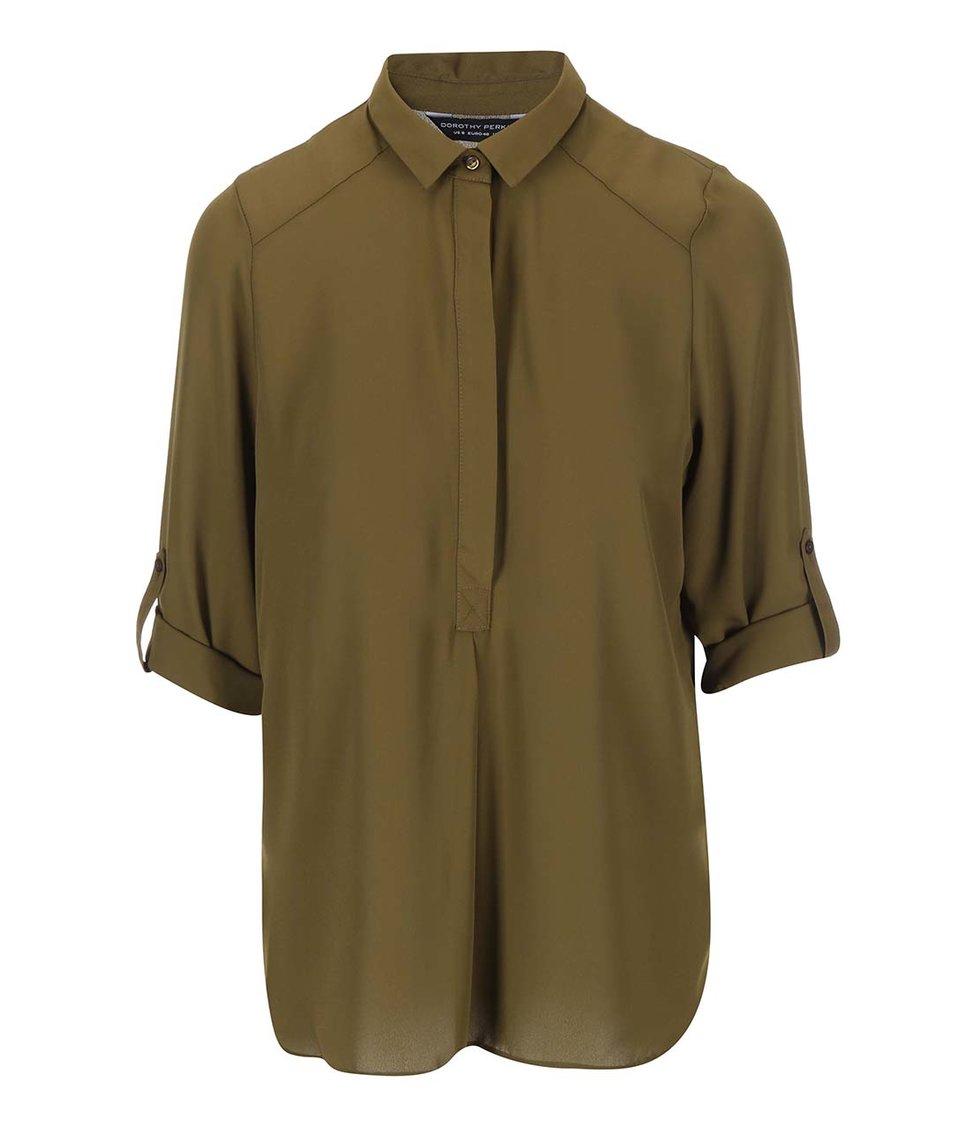Tmavě zelená košile s 3/4 rukávem Dorothy Perkins
