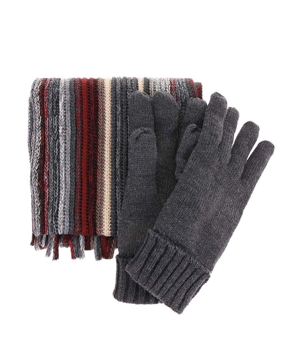 Vínovo-šedý pánský set se šálou a rukavicemi Signature