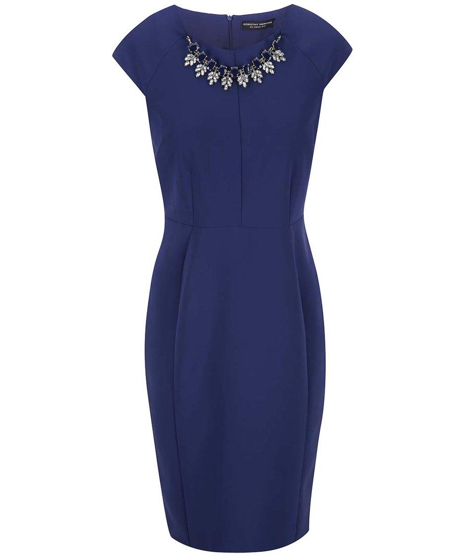 Modré šaty s náhrdelníkovou aplikací Dorothy Perkins