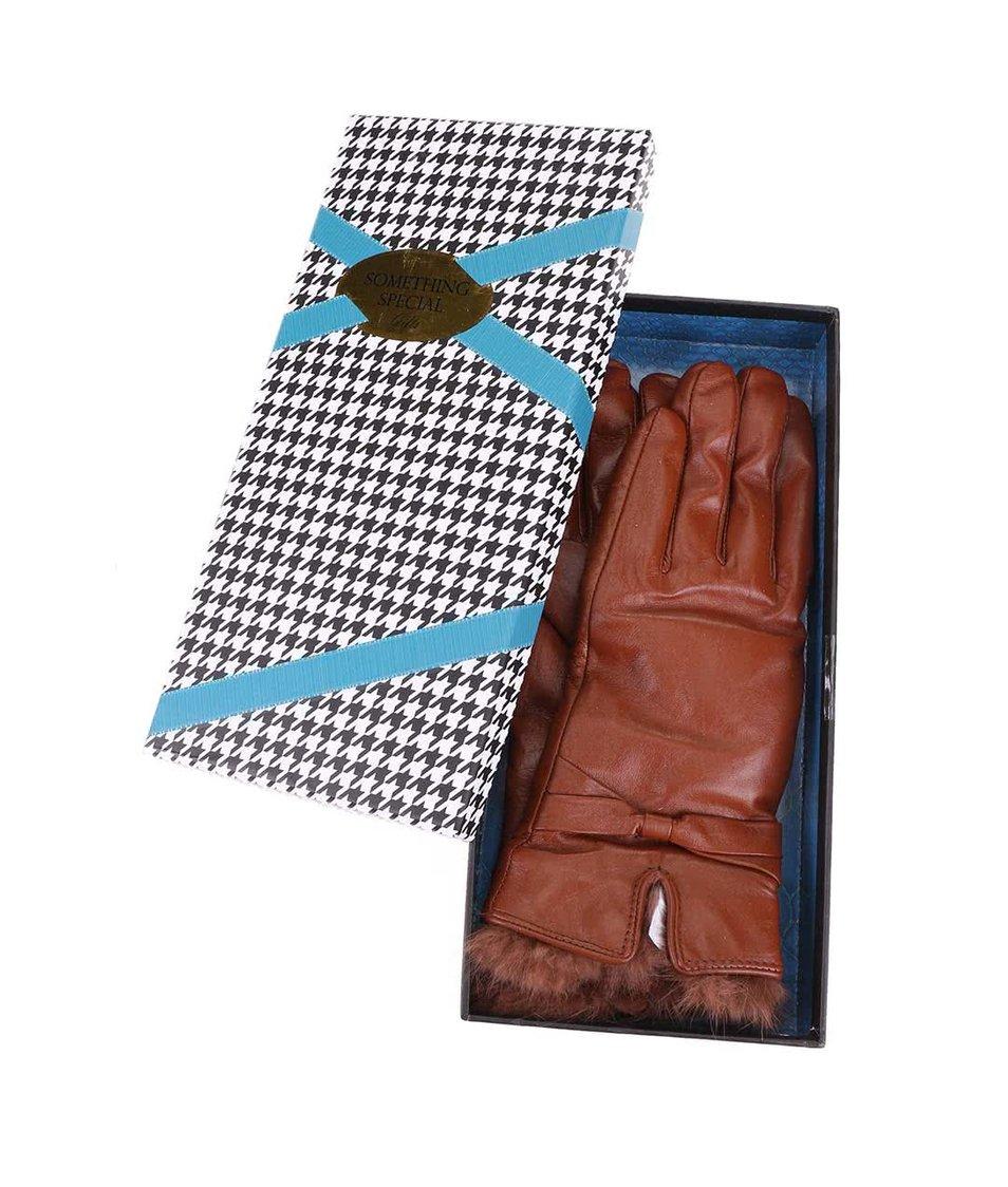 Tmavě hnědé kožené rukavice Something Special by Moon