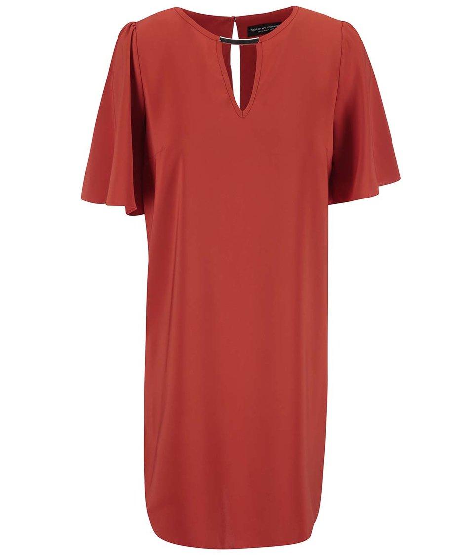 Červené šaty s širokými rukávy Dorothy Perkins