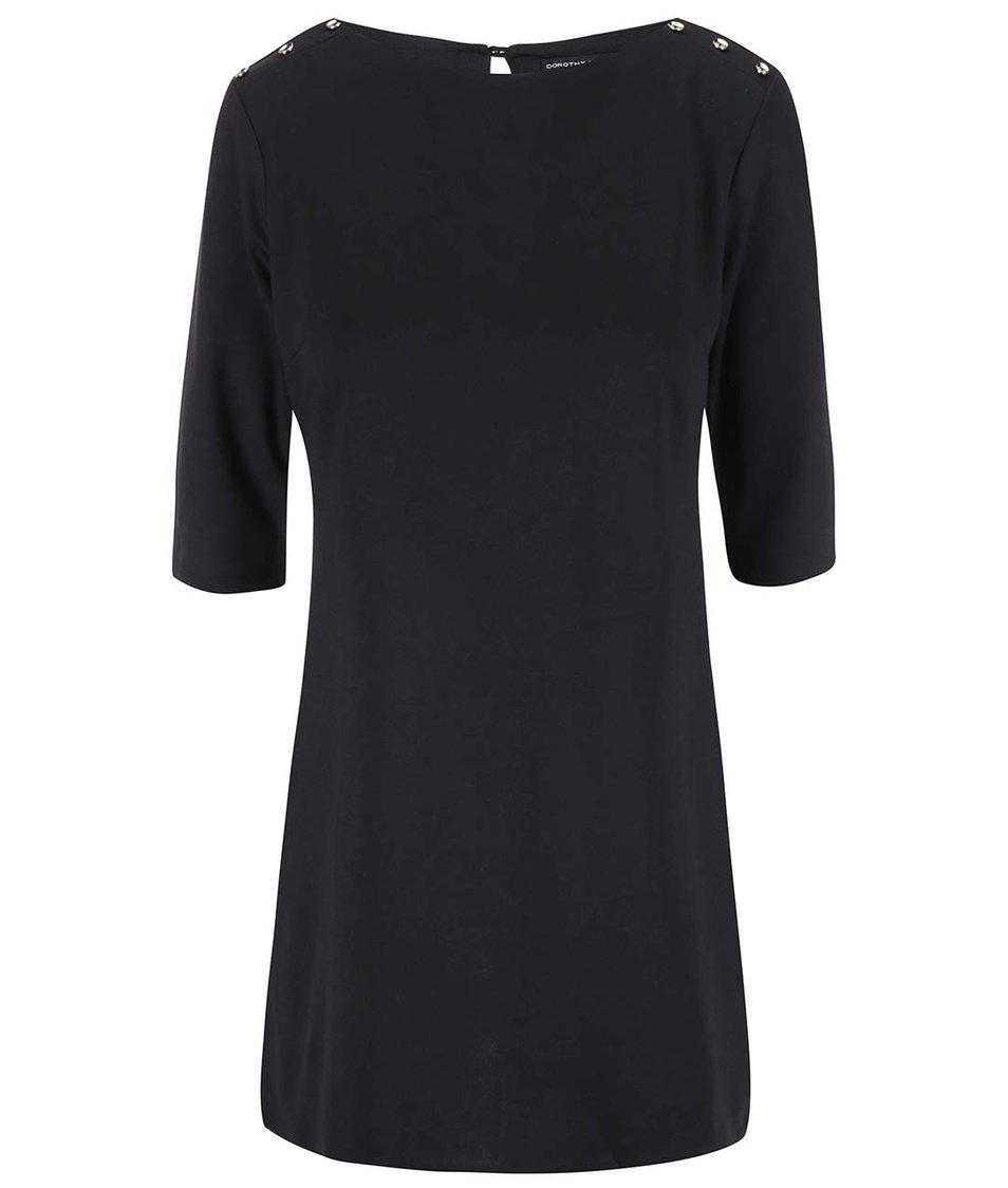 Černé šaty s knoflíky na ramenou Dorothy Perkins