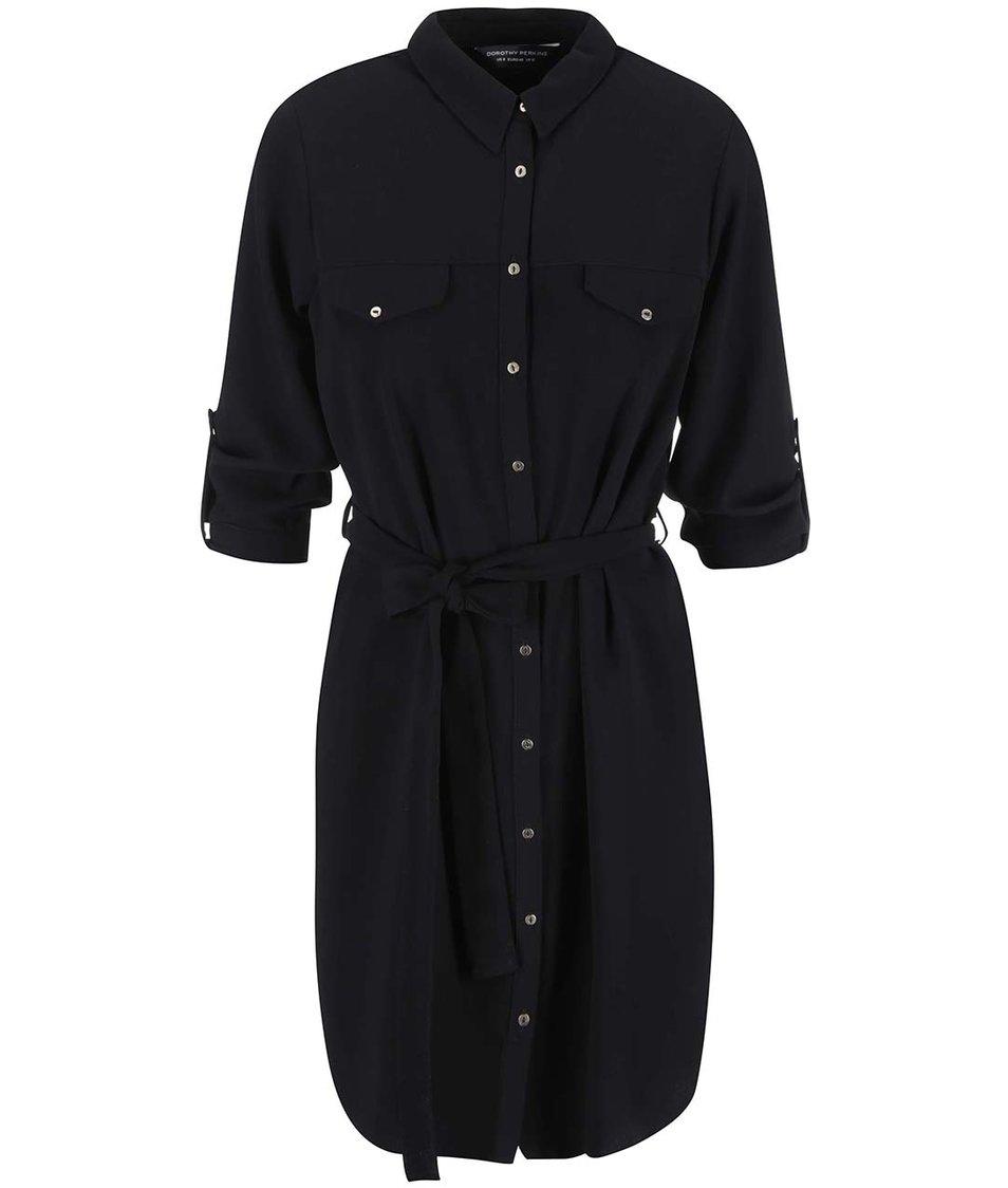 Černé košilové šaty se zavazováním Dorothy Perkins