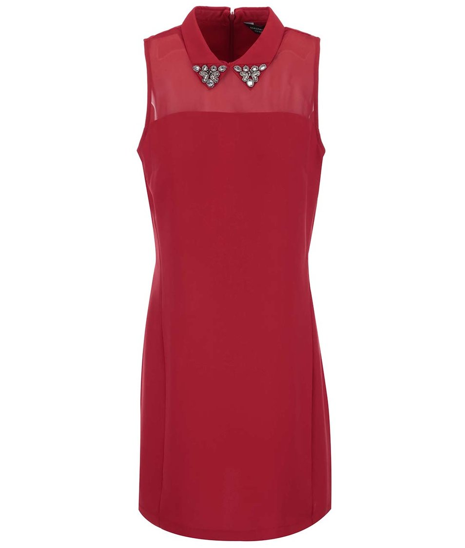 Červené  šaty s ozdobným límečkem Dorothy Perkins