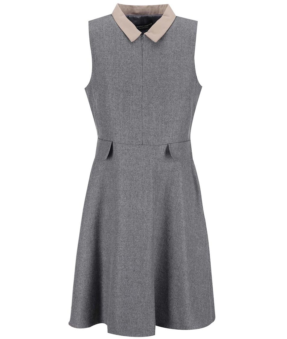 Šedé šaty s límečkem Dorothy Perkins