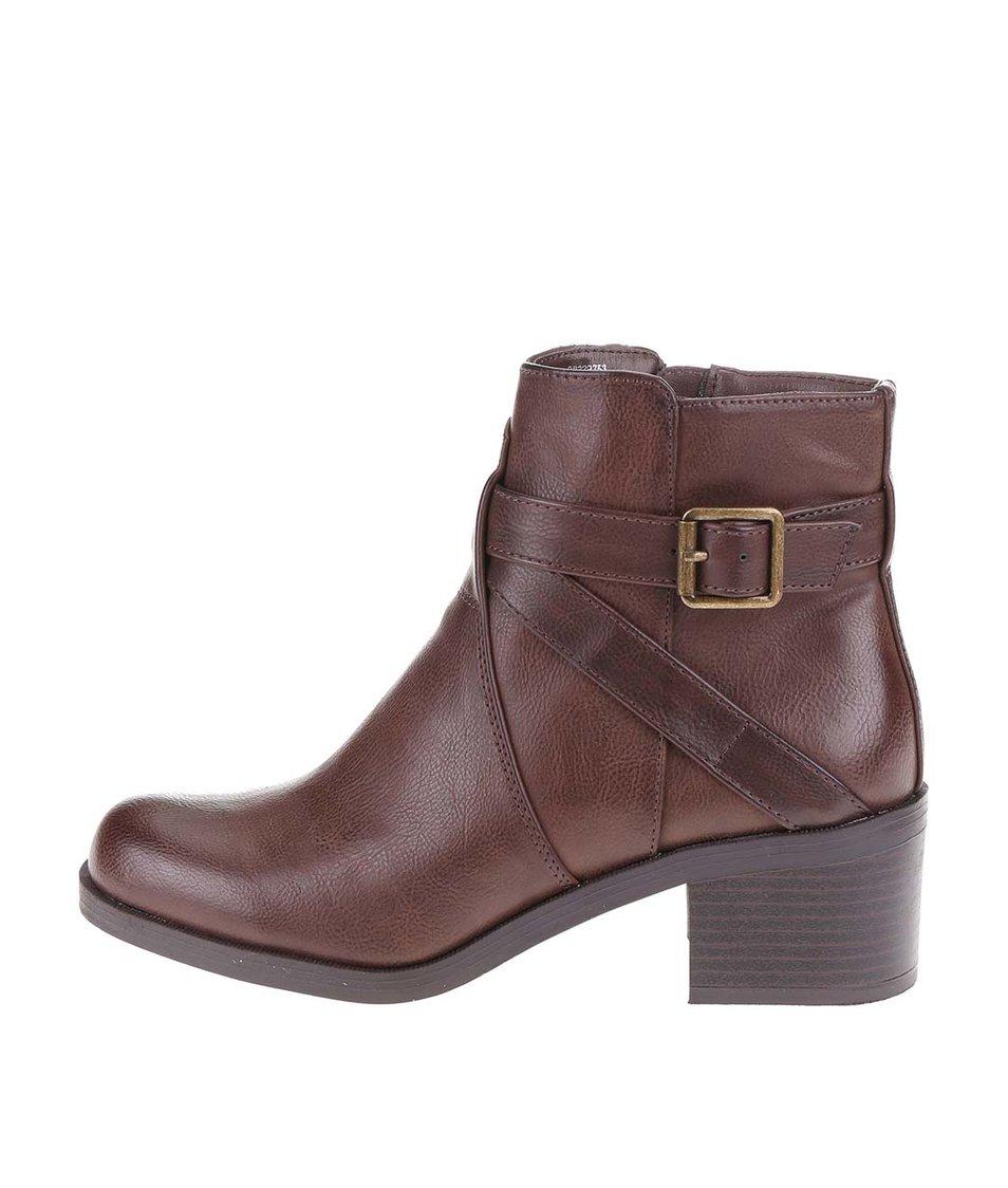 Hnědé kotníkové boty na podpatku Dorothy Perkins