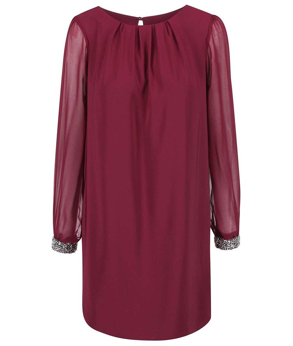 Vínové šaty se zdobenými manžetami Dorothy Perkins