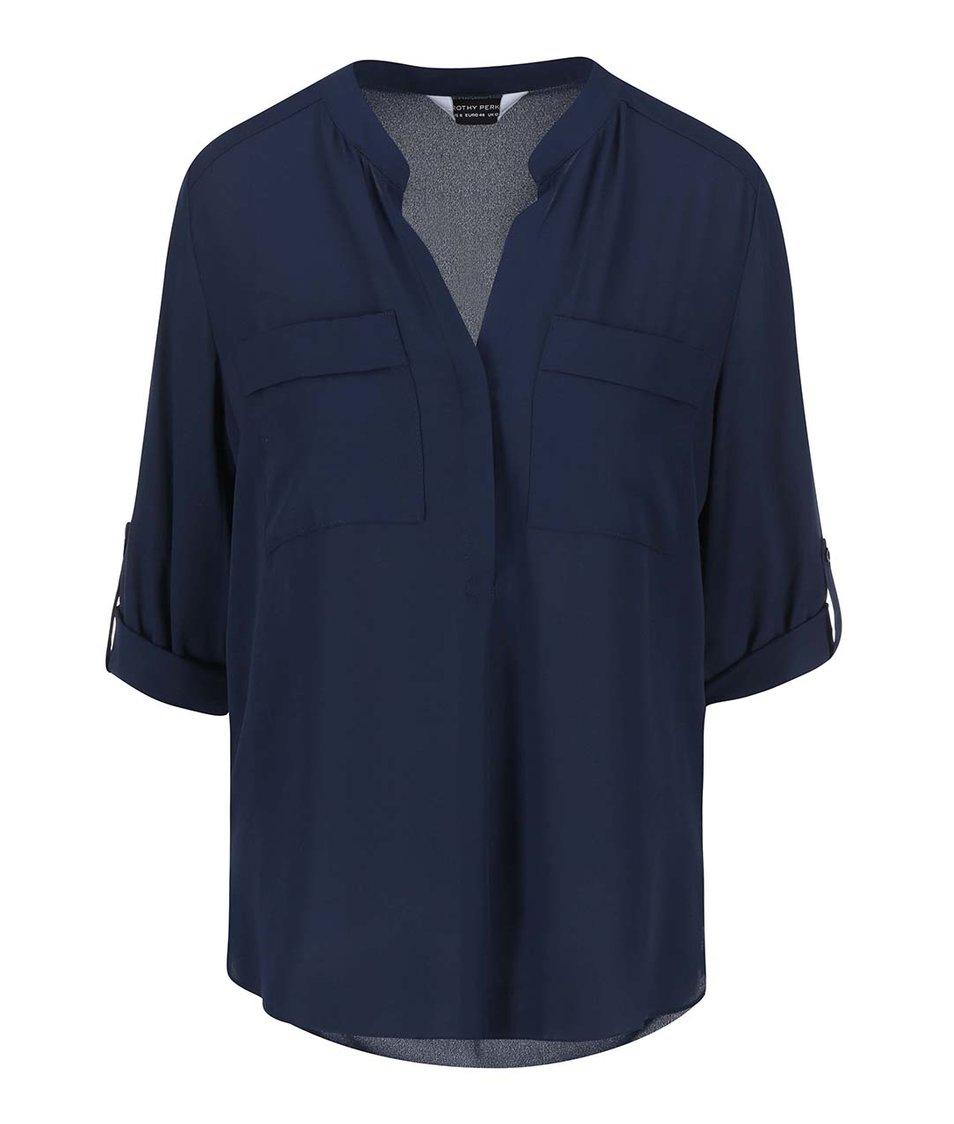 Tmavě modrá košile s 3/4 rukávy Dorothy Perkins
