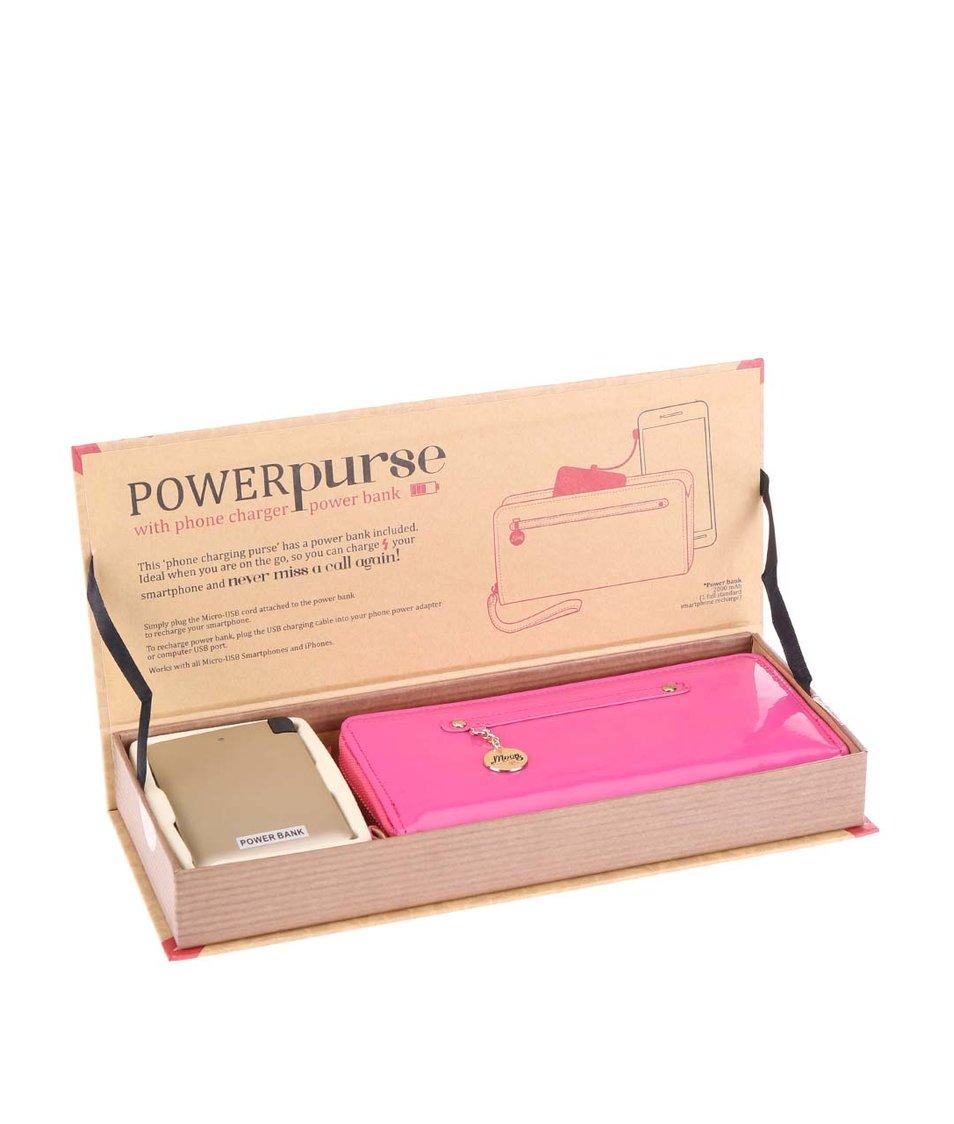 Růžová peněženka s powerbankou na smartphone Something Special by Moon