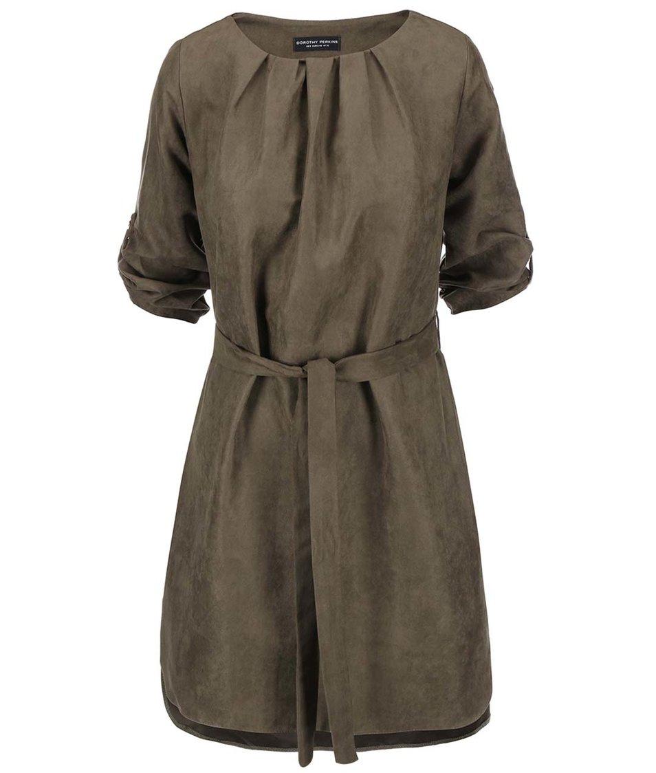 Khaki šaty se semišovým vzhledem Dorothy Perkins