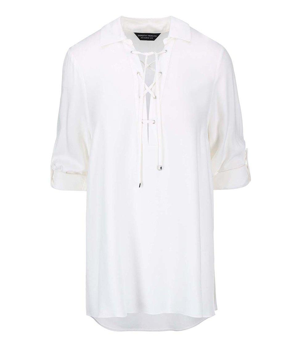 Krémová košile se šněrováním Dorothy Perkins