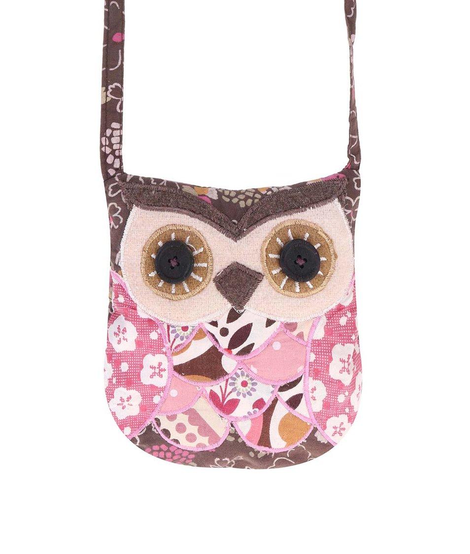 Růžovo-hnědá květovaná kabelka s motivem sovy Sass & Belle