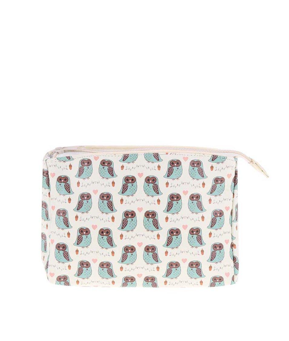 Krémová menší kosmetická taštička Sass & Belle Forest Owl