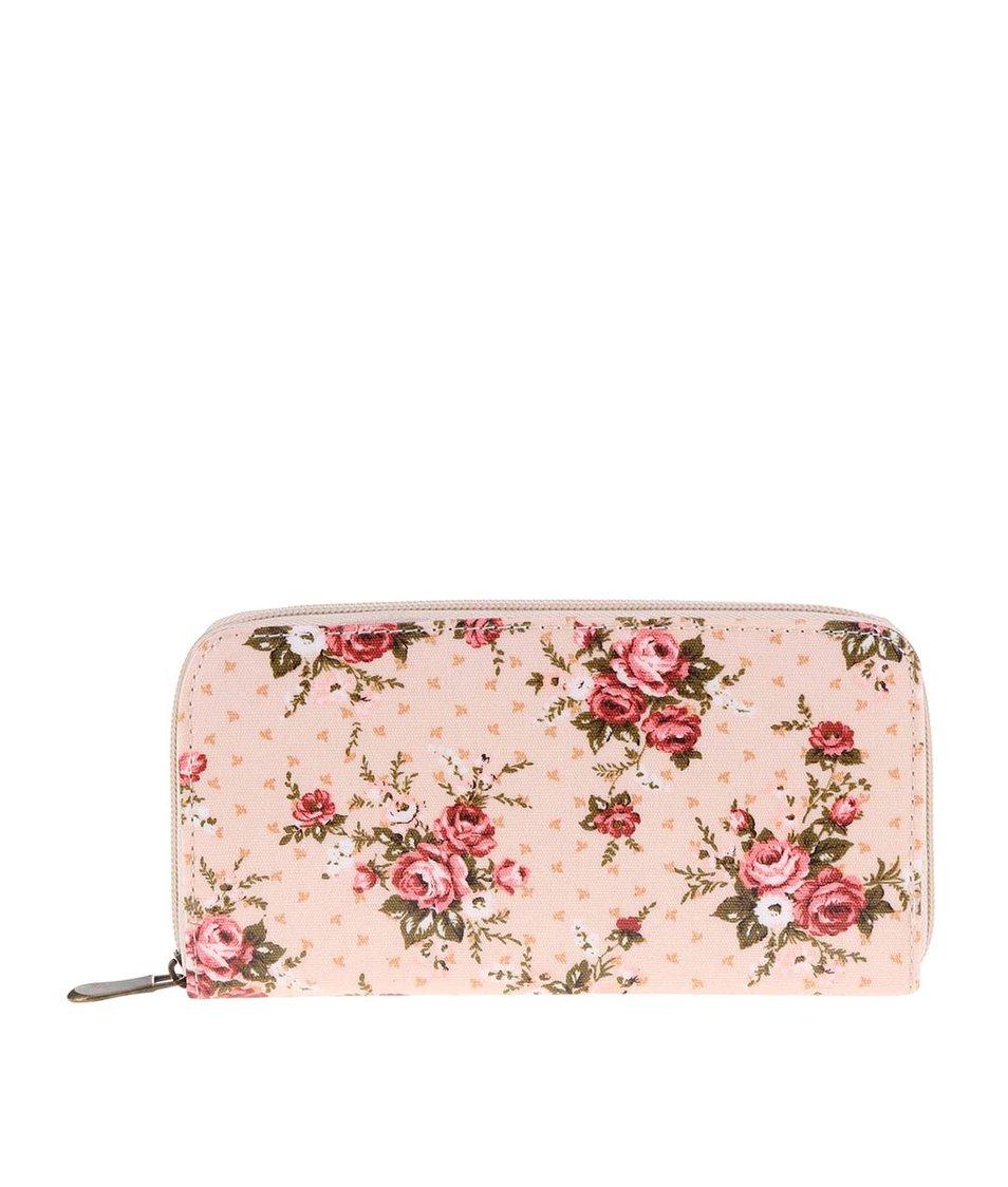 Růžová květovaná peněženka Sass & Belle Lady Antoinette
