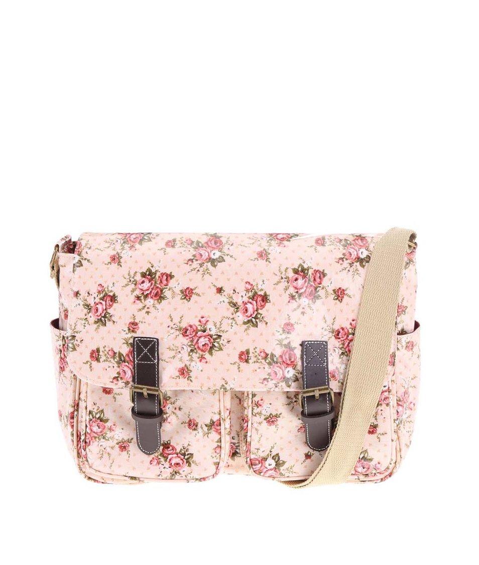 Růžová květovaná kabelka Sass & Belle Lady Antoinetta