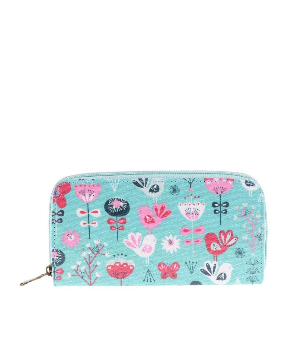 Tyrkysová peněženka s motivy květin Sass & Belle Scandi Birds