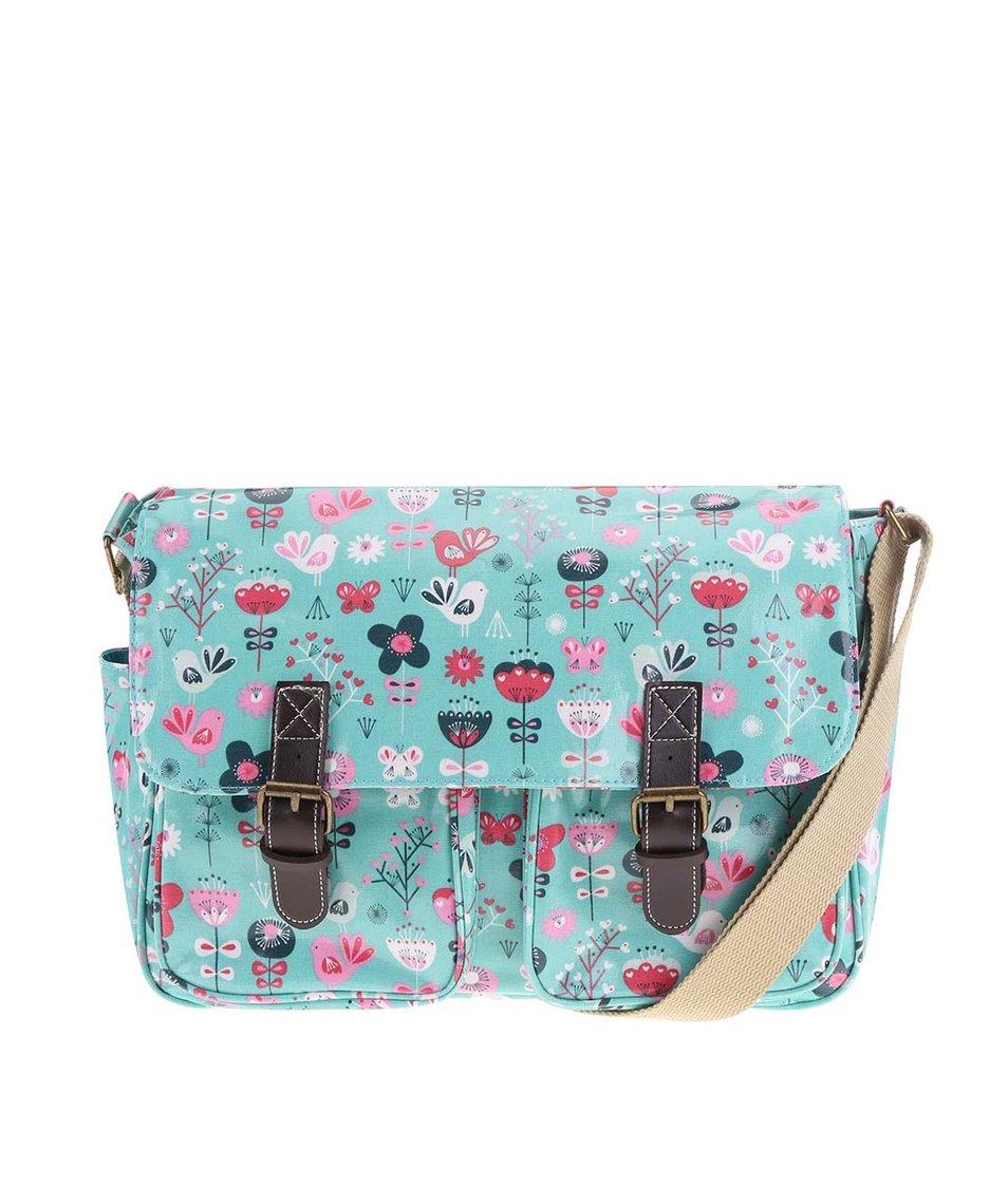 Tyrkysová kabelka s motivy květin Sass & Belle Scandi Birds