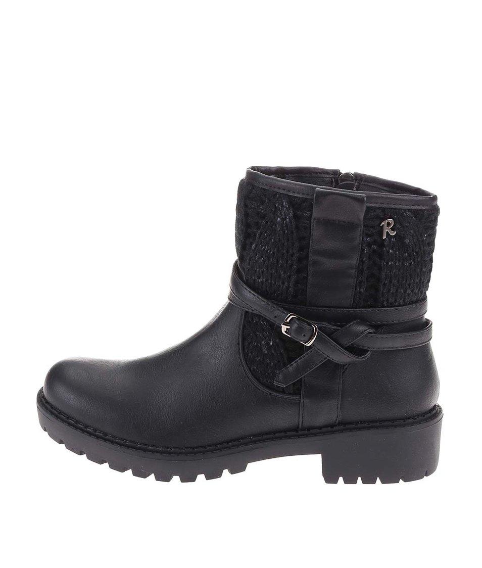 Černé kotníkové boty s páskem Refresh