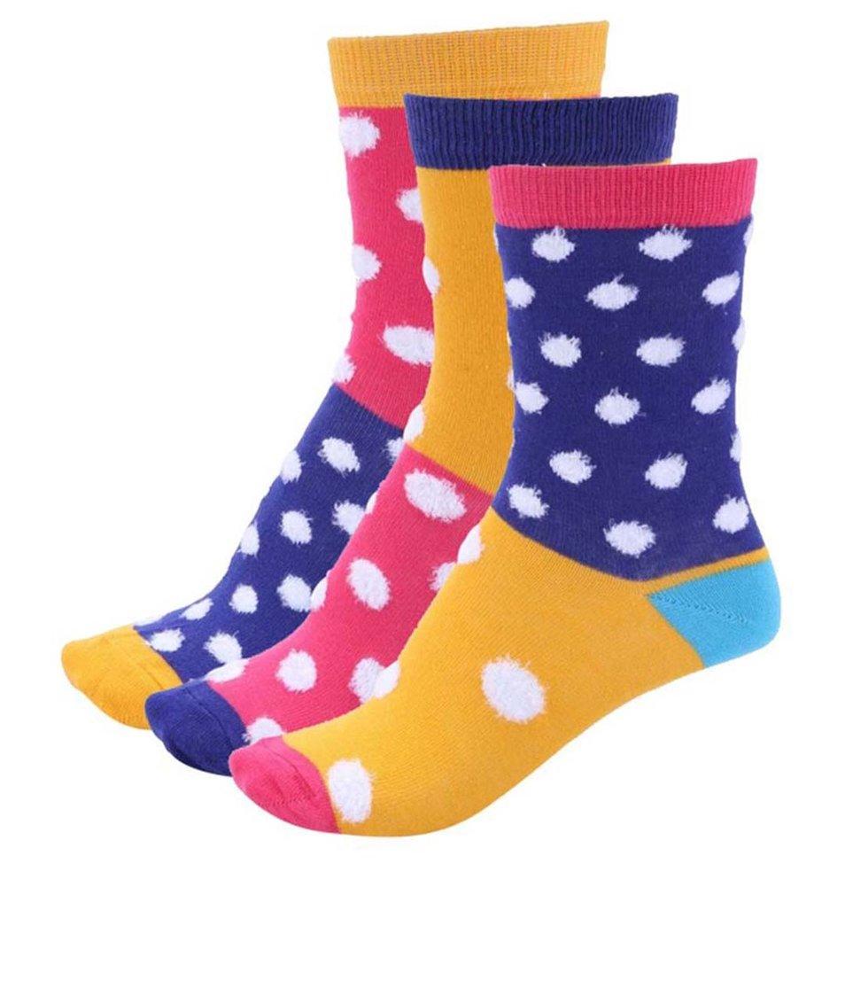 Sada tří barevných dámských ponožek s puntíky Oddsocks Claire