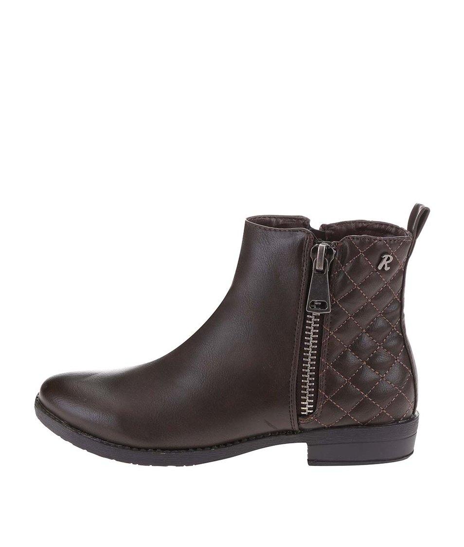 Tmavě hnědé kotníkové boty s ozdobným zipem Refresh