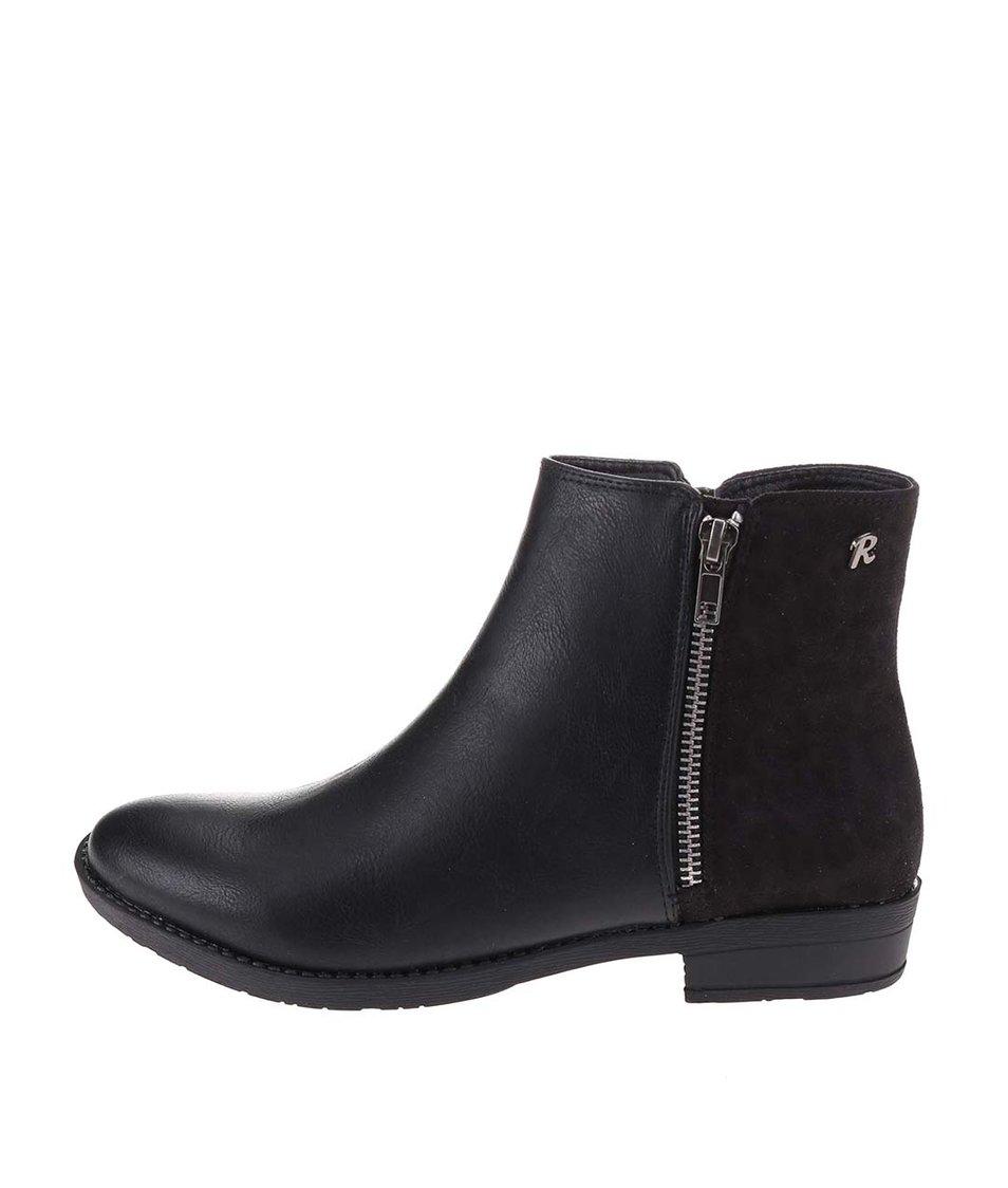 Černé kotníkové boty se semišem Refresh
