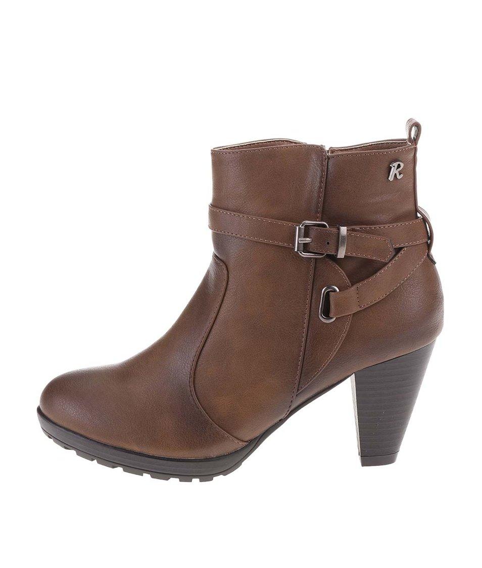 Hnědé kotníkové boty na podpatku Refresh