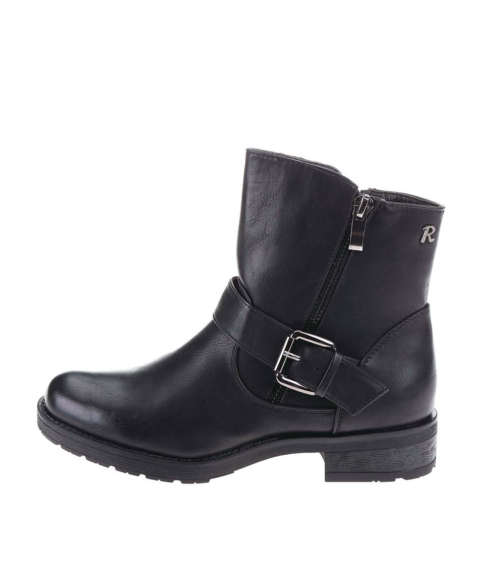 Černé kotníkové boty s přezkou a zipem Refresh