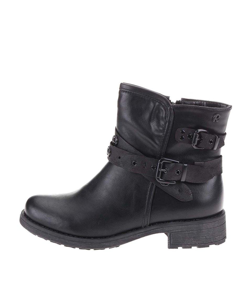 Černé vyšší kotníkové boty s přezkami Refresh