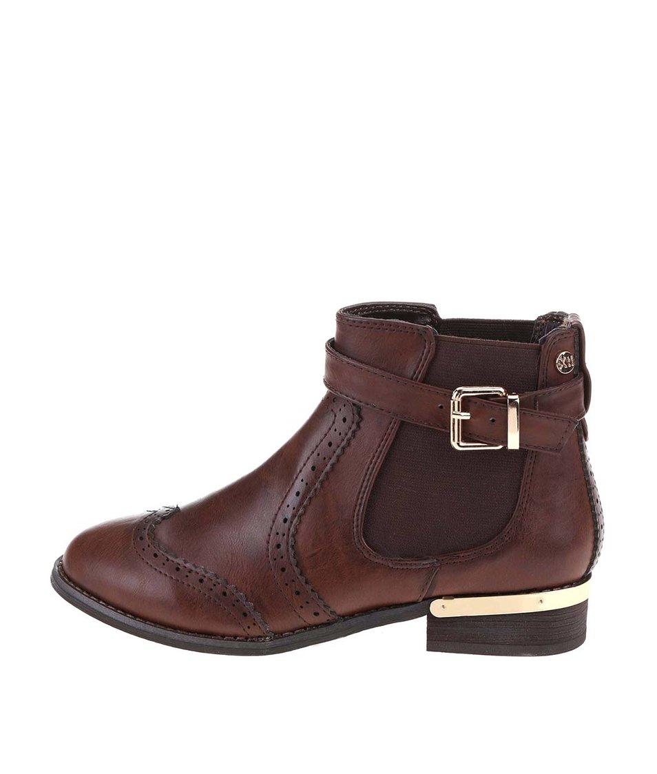 Tmavě hnědé  kotníkové boty s detaily ve zlaté barvě Xti