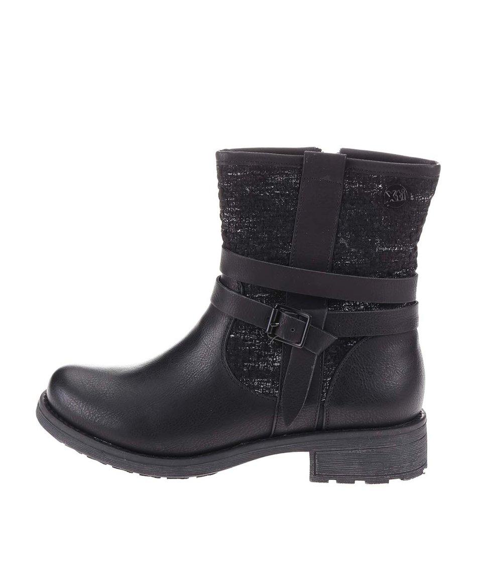 Černé vyšší boty s flitry Xti
