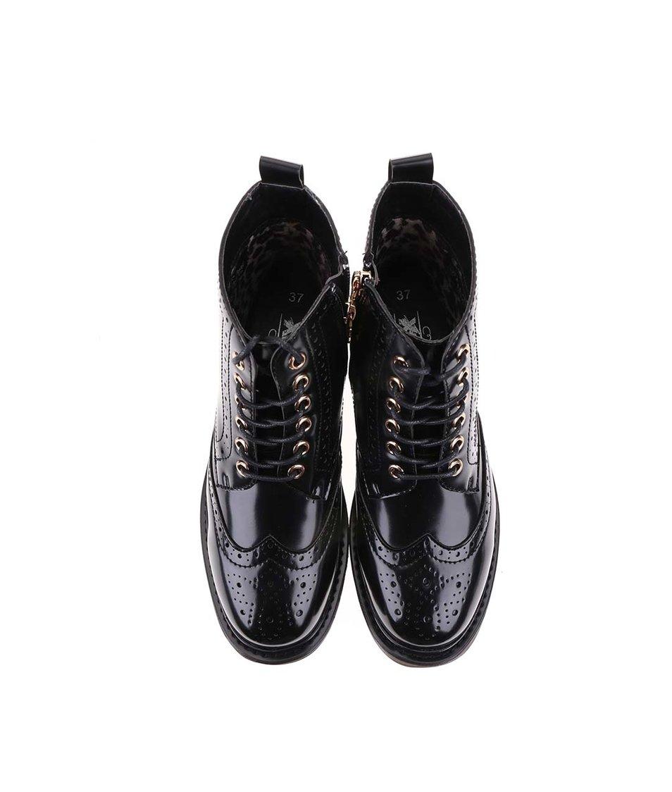 Černé vyšší šněrovací brogue boty Xti