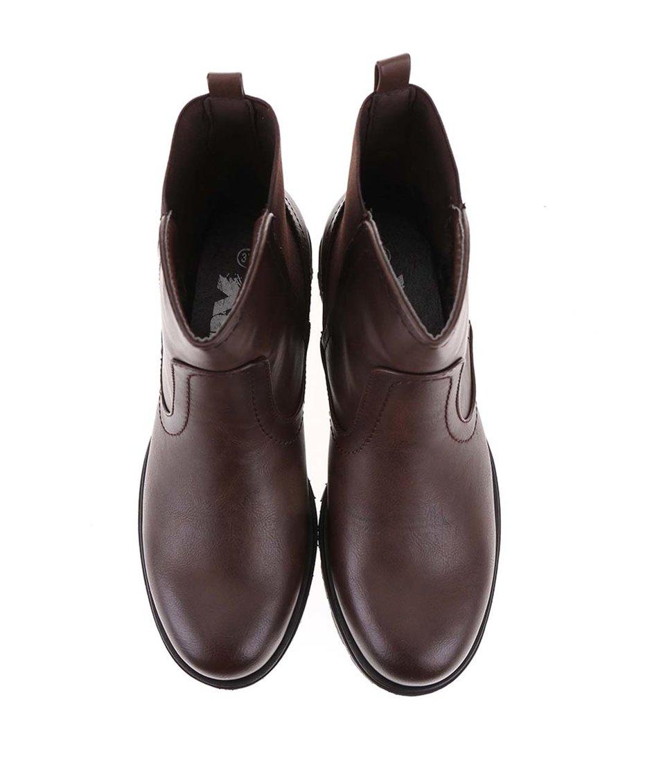 Tmavě hnědé kotníkové boty s pružným dílem Xti