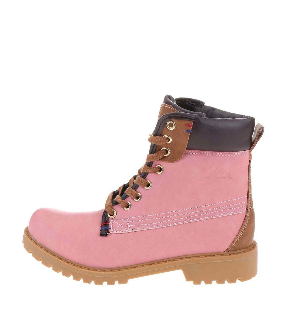Růžové kotníkové šněrovací boty Xti