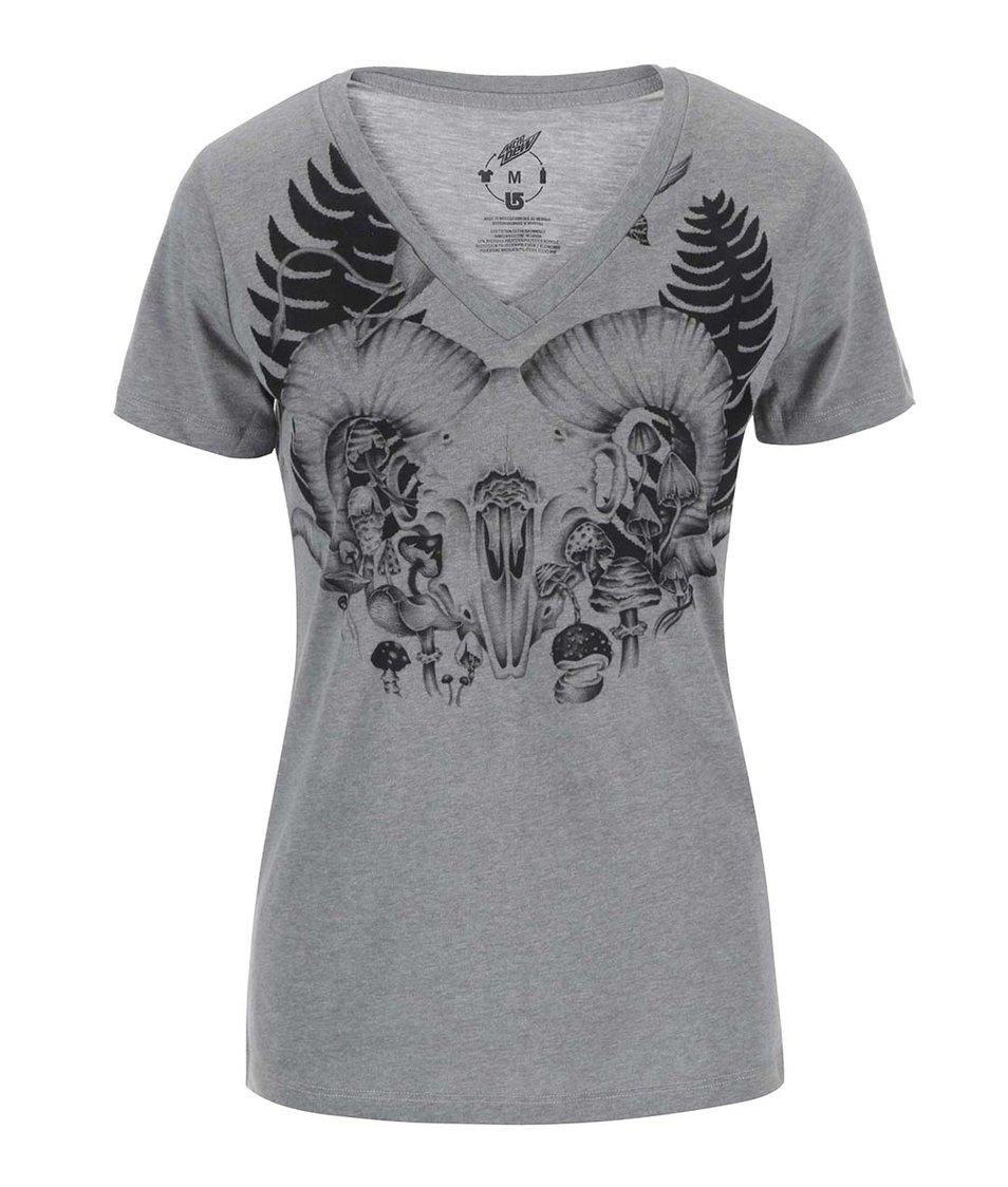 Šedé dámské tričko s potiskem Burton Ferny