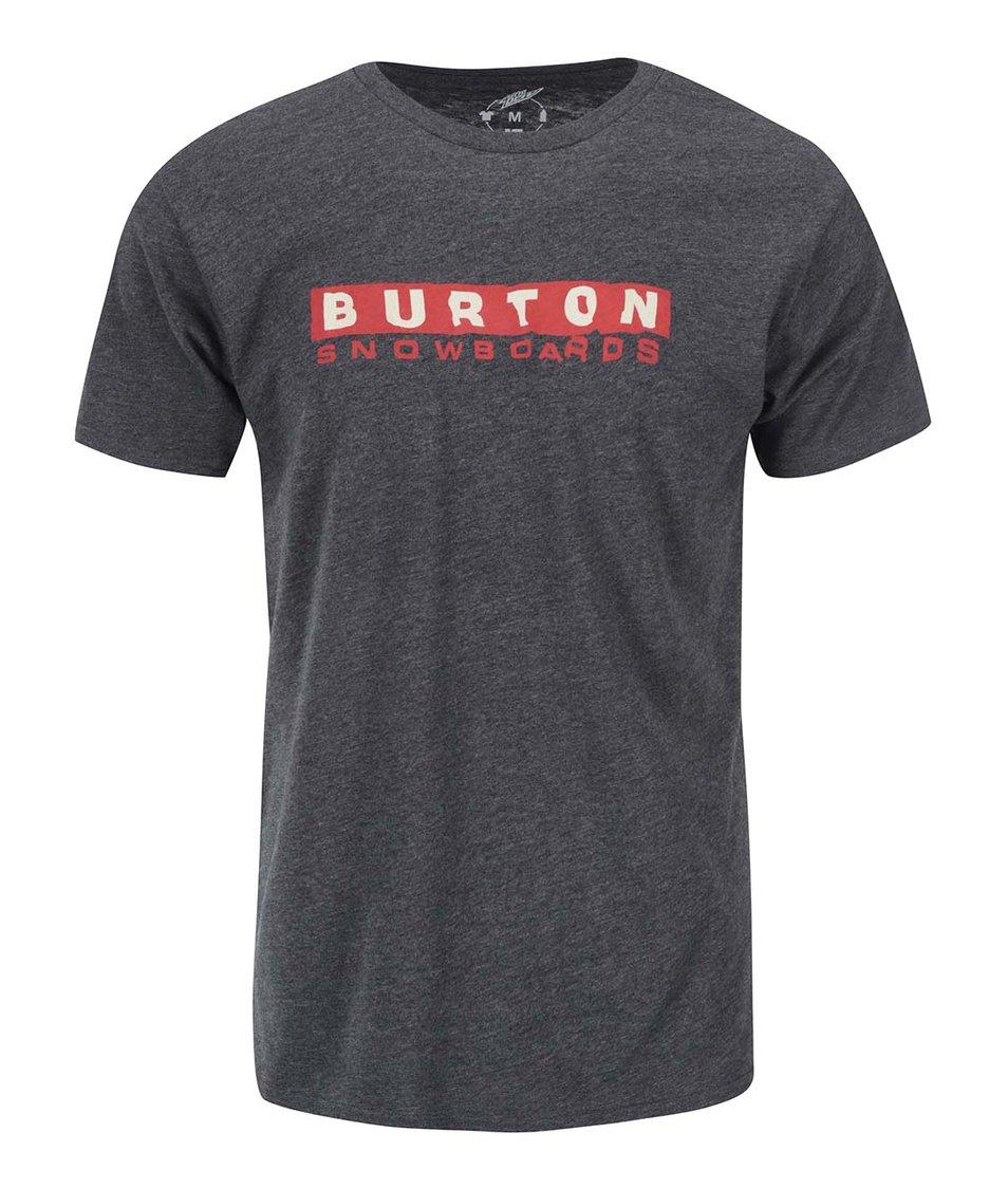 Tmavě šedé pánské triko s potiskem Burton Carson