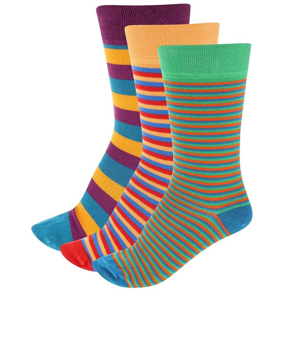 Sada 3 párů pánských pruhovaných ponožek SocksInBox Stripy