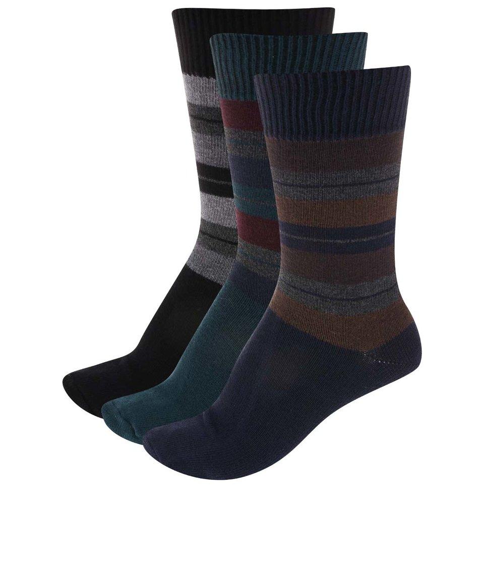 Sada 3 párů pánských pruhovaných ponožek SocksInBox Multicolor