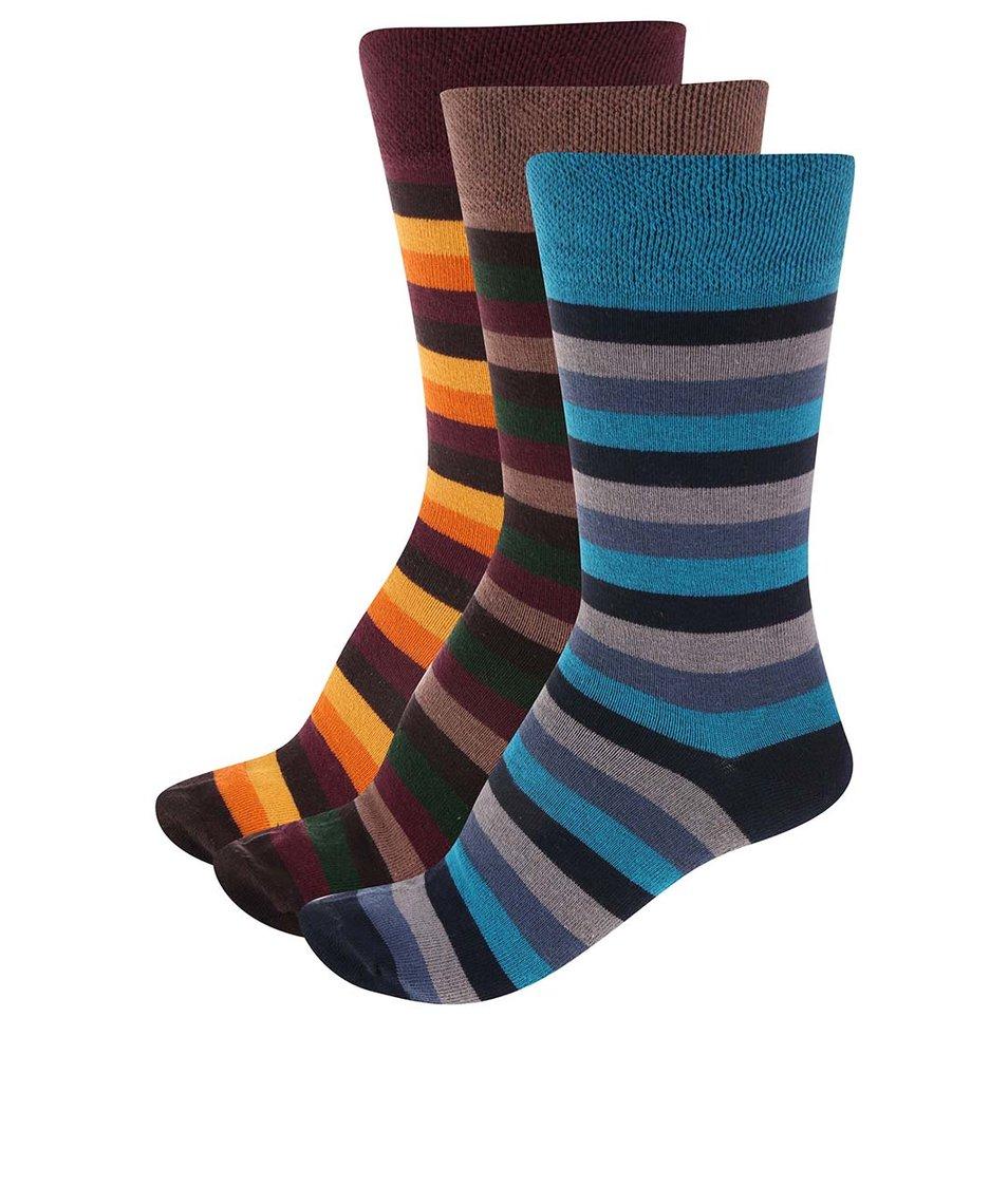 Sada 3 párů pánských pruhovaných ponožek SocksInBox Nostalgic