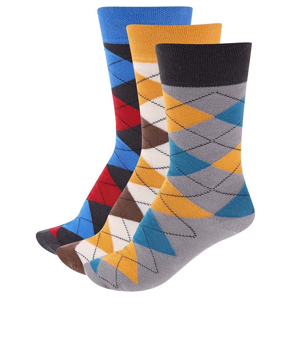 Sada 3 párů pánských károvaných ponožek SocksInBox Agryle