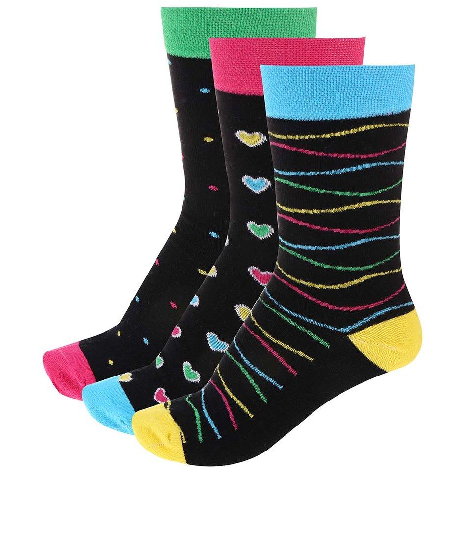 Černé vzorované ponožky v sadě tří párů OJJU