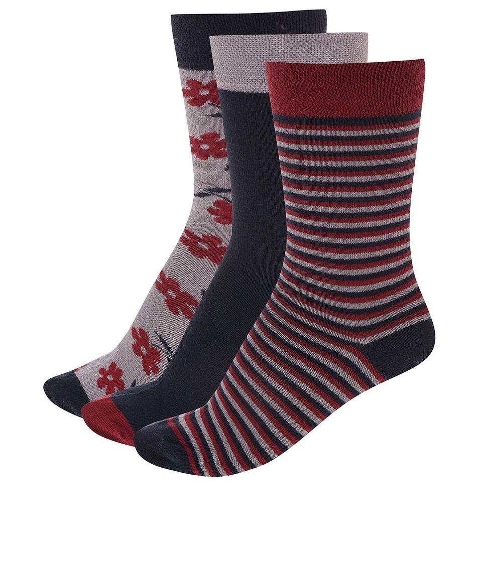 Barevné ponožky s květinami a pruhy v sadě tří párů OJJU