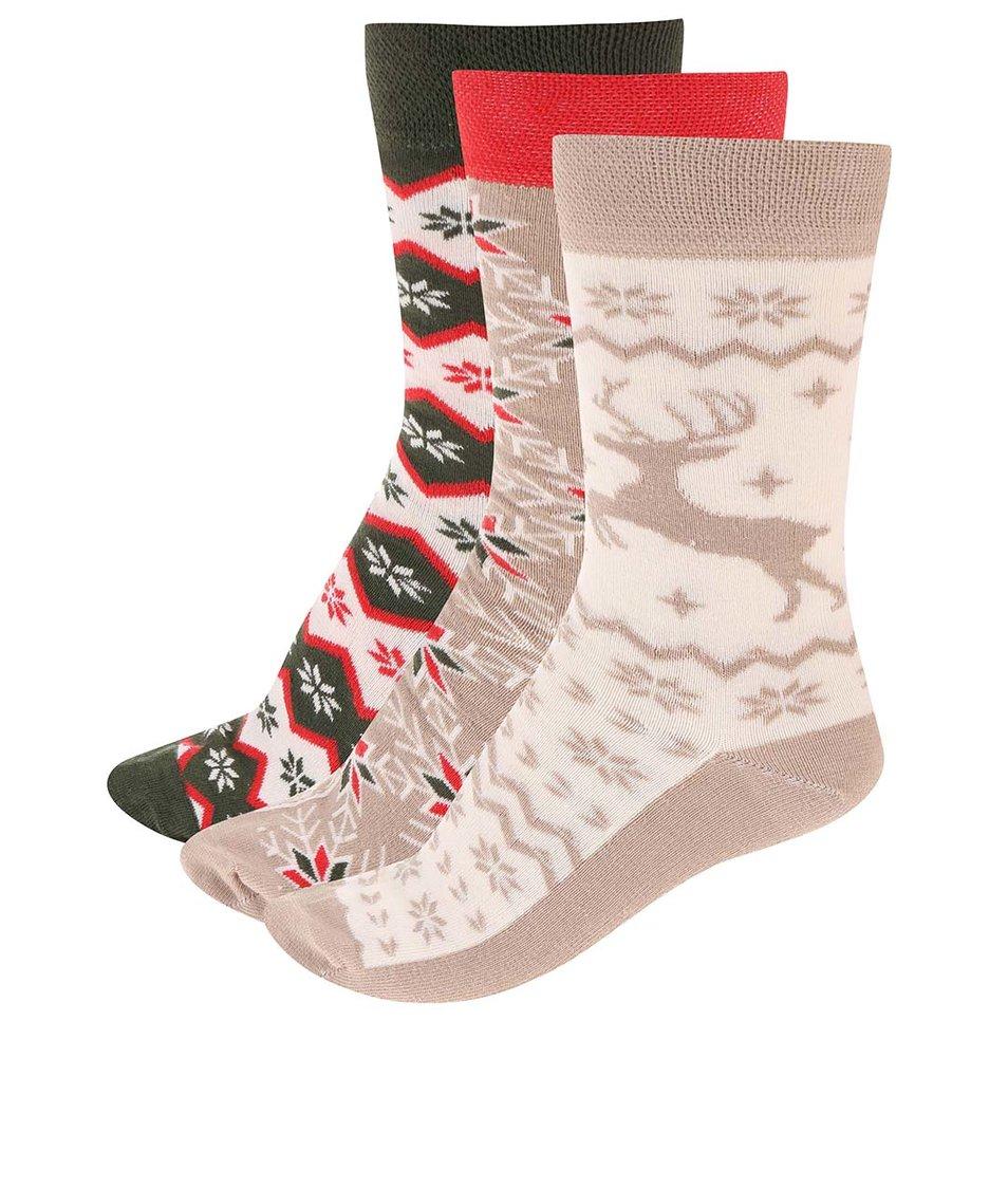 Barevné ponožky s vánočními motivy v sadě tří párů OJJU