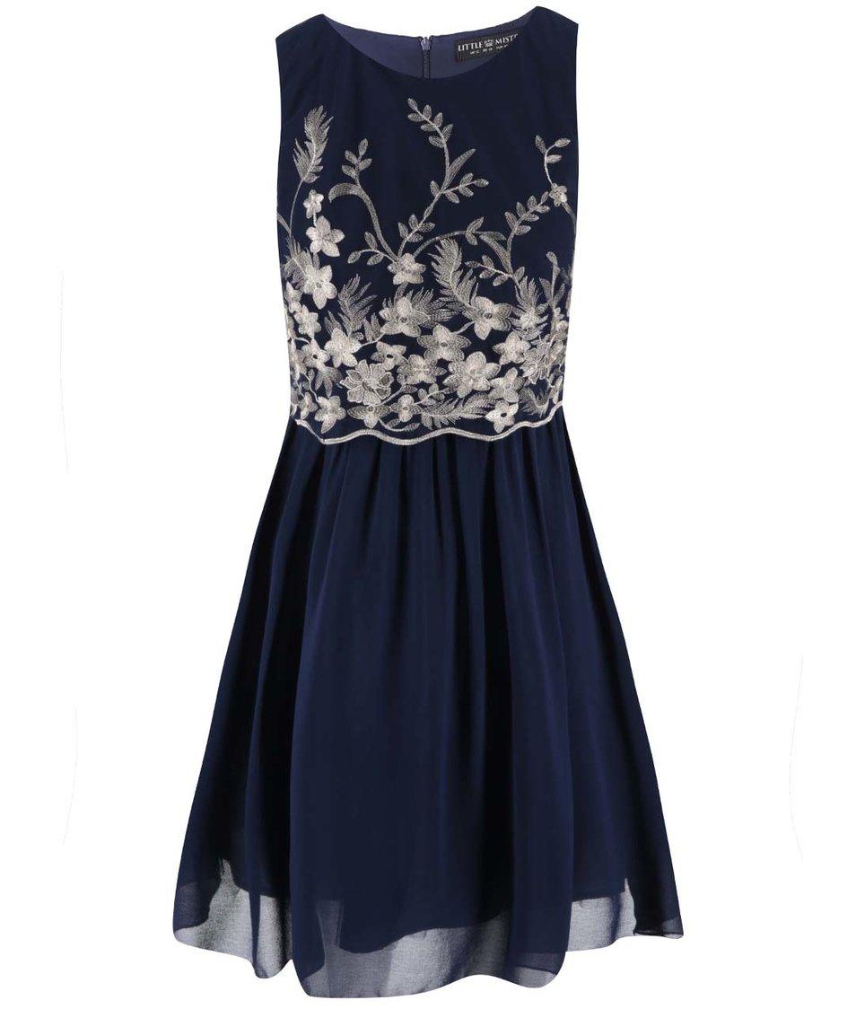 Tmavě modré šaty se zlatými detaily Little Mistress