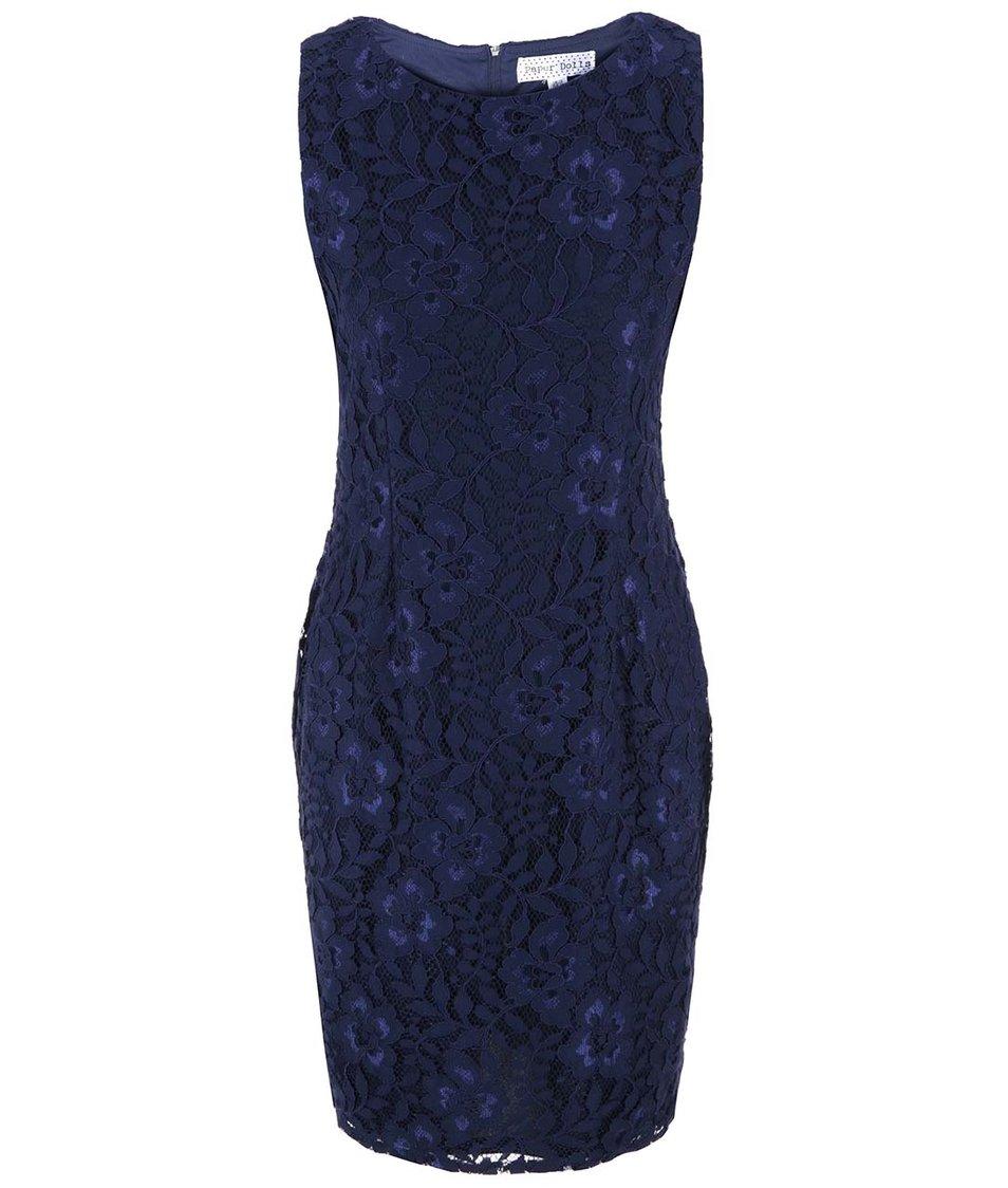 Modré šaty s krajkovým detailem Paper Dolls