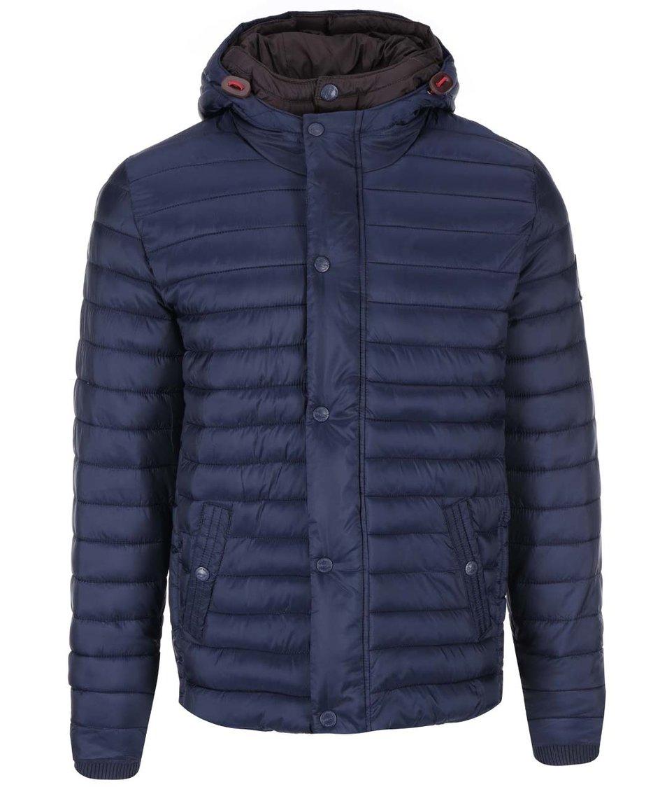 Tmavě modrá prošívaná bunda s kapucí Dstrezzed