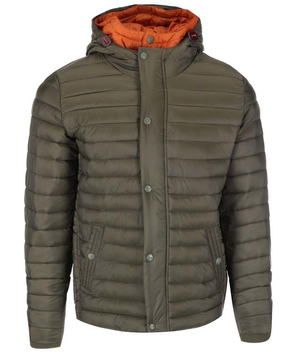 Oranžovo-zelená prošívaná bunda s kapucí Dstrezzed