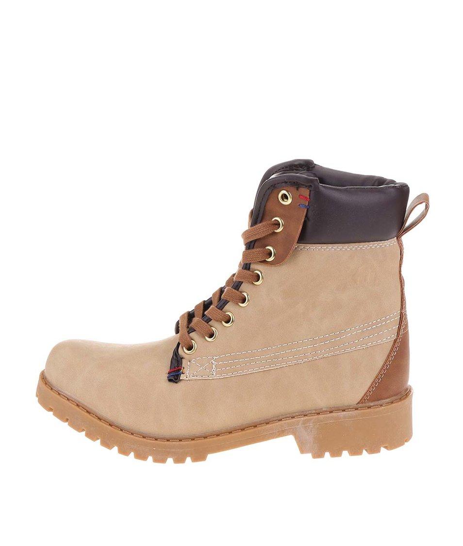 Béžové kotníkové šněrovací boty Xti