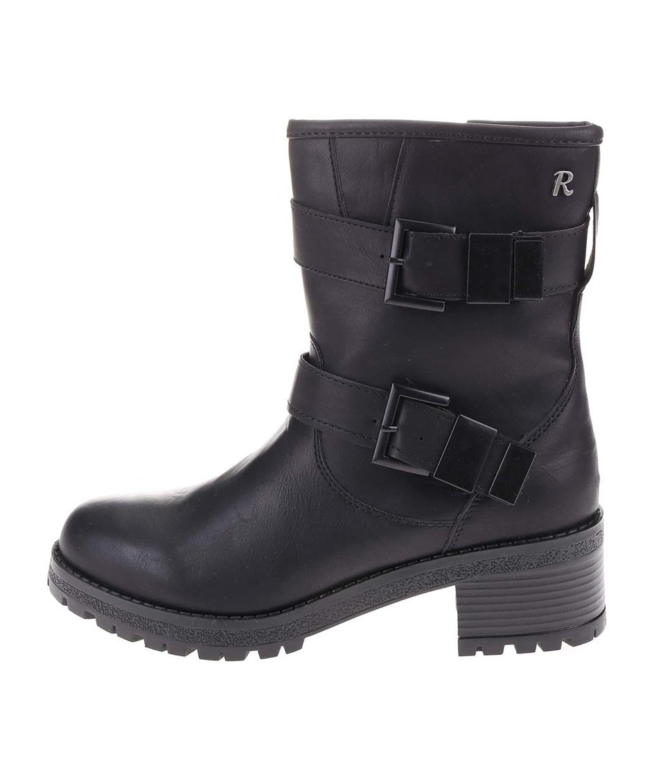 Černé vyšší boty s přezkami Refresh