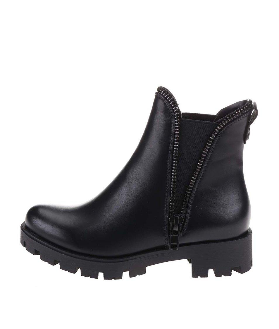 Černé kotníkové boty s ozdobným zipem Xti