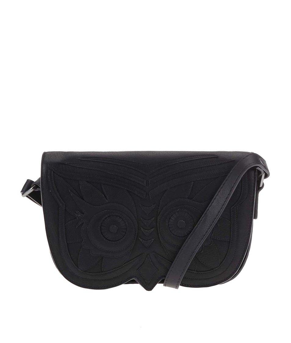 Černá kožená kabelka se sovou YOSHI Owl